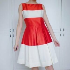 Kate Spade Orange and Cream Cocktail Dress